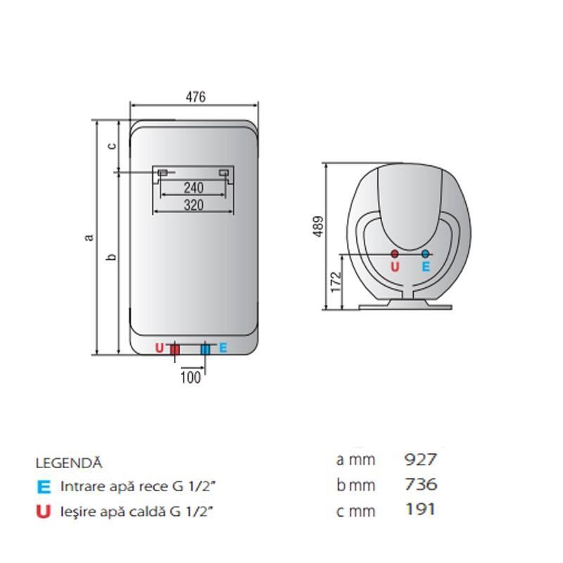 Poza Dimensiuni Boiler electric Ariston Shape Eco EVO 100 V 1,8 K EU 100 Litri