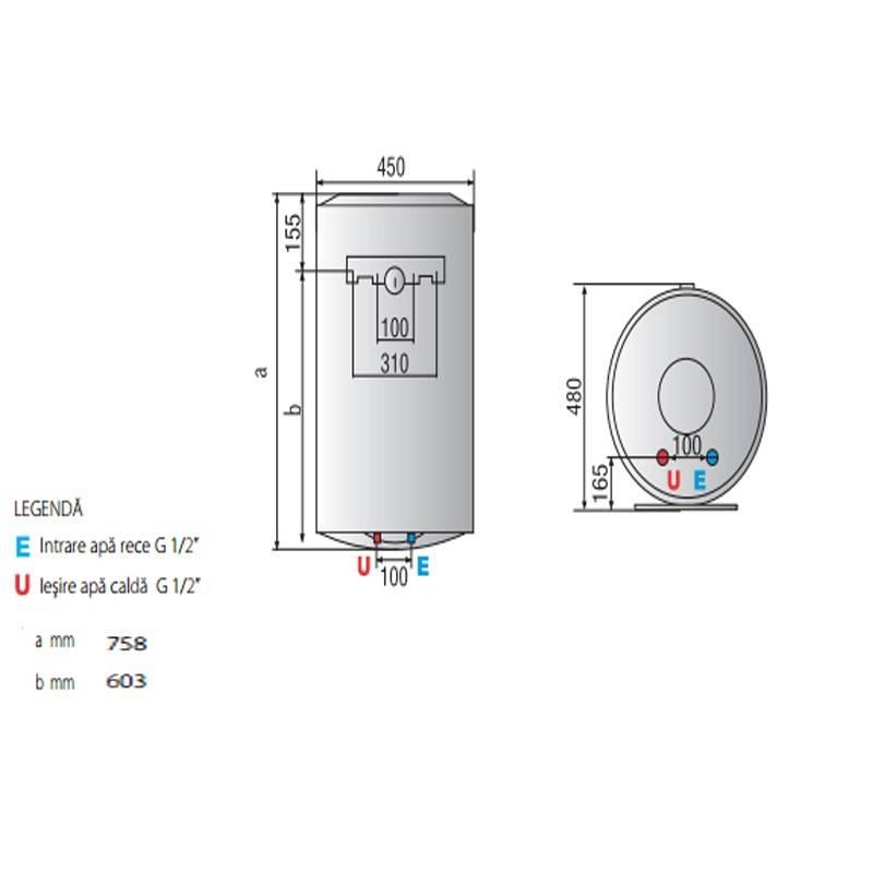 Poza Dimensiuni Boiler electric Ariston Pro Eco EVO 80 V 1,8K EU 80 litri