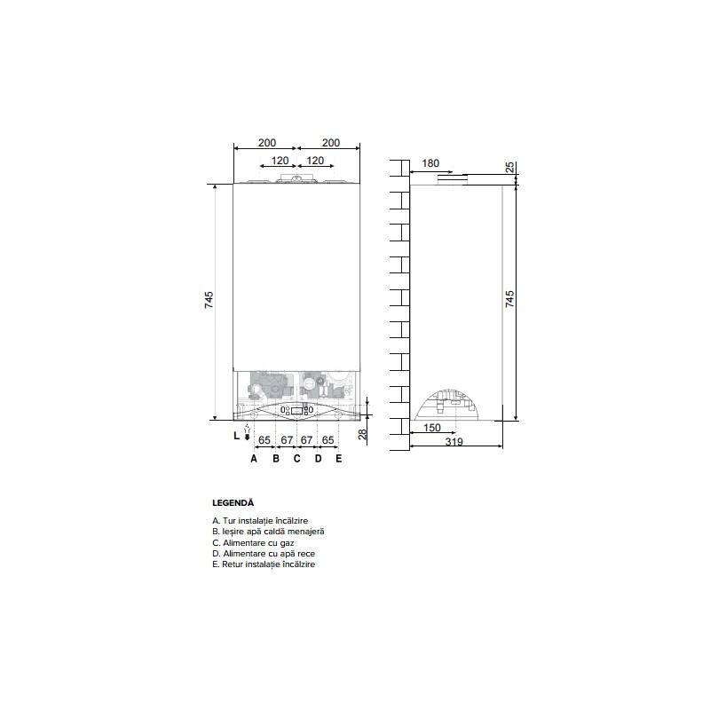 Poza Dimensiuni Centrala termica in condensare Ariston CARES PREMIUM 24 EU 24 KW