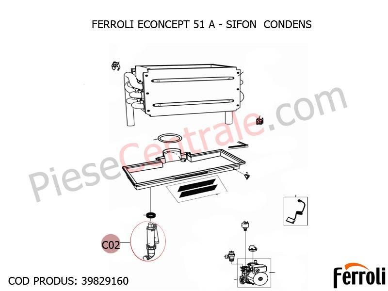 Poza Sifon Condens centrala termica Ferroli Econcept