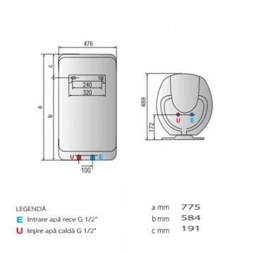 Poza Dimensiuni Boiler electric Ariston Shape Eco EVO 80 V 1,8 K EU 80 litri