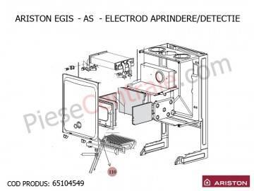 Poza Electrod aprindere-detectie centrale termice Ariston Egis, AS, Genus, Clas